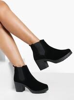 Boohoo Madison Block Heel Suedette Chelsea Boot