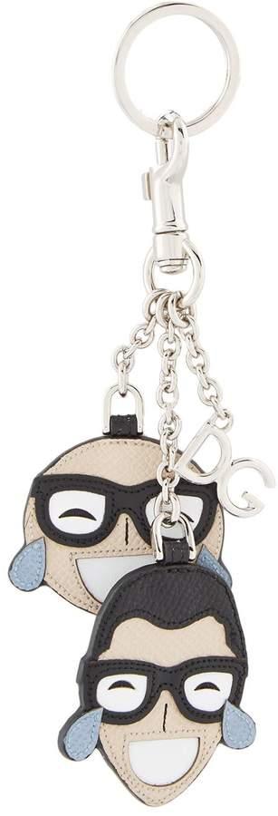 Dolce & Gabbana Leather Face Keyring