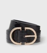 Thumbnail for your product : New Look Faux Croc Double Horseshoe Belt