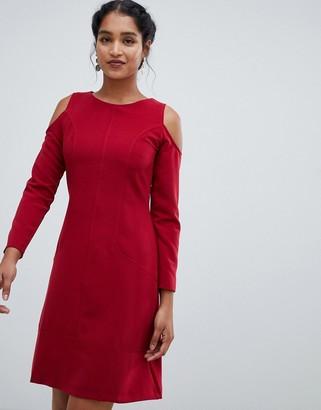 Closet London cold shoulder a line dress-Red