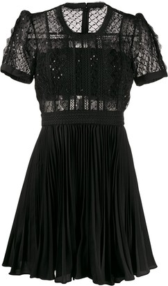Self-Portrait lace-trimmed A-line mini dress