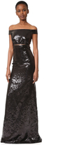 Kaufman Franco KAUFMANFRANCO Sequin Off the Shoulder Gown