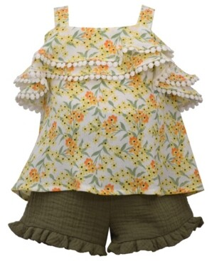 Bonnie Jean Little Girls 2-Pc. Gauze Crinkle Ruffle Top & Shorts Set