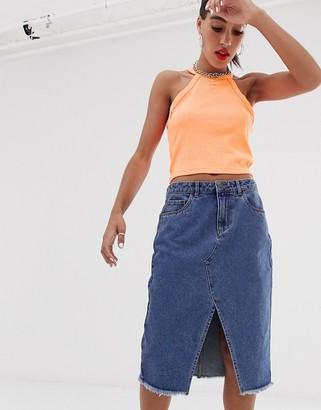 Noisy May midi front split denim skirt-Blue