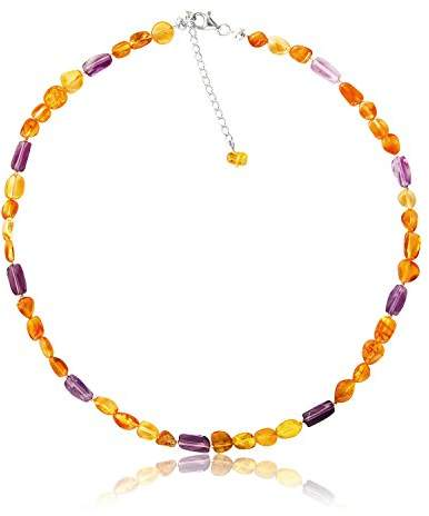 Goldmajor Women 925 Sterling Silver Multicolour Amber Strand Necklace of Length 43cm CL862