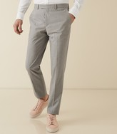 REISS Gilly - Slim Fit Checked Trousers in Grey