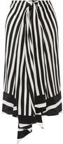 Tome Tie-front Striped Silk-georgette Midi Skirt - Black