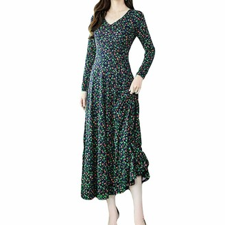 YBWZH Women Vintage Dress Women Fashion Elegant Dress Plus Size Party Dress Women Evening Printing Dress Long Sleeve V Neck Dress (Green M)