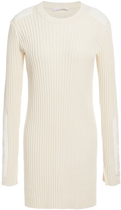 Helmut Lang Velvet-trimmed Ribbed Cotton And Cashmere-blend Mini Dress