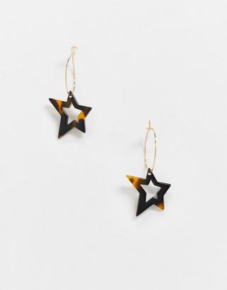 ASOS DESIGN hoop earrings with tortoiseshell star charm in gold tone