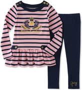 Juicy Couture Pink Stripe Ruffle-Hem Top & Leggings - Toddler & Girls