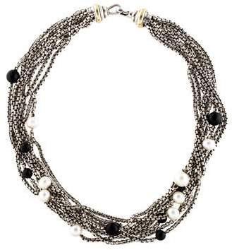 David Yurman Bijoux Onyx & Pearl Multistrand Collar Necklace