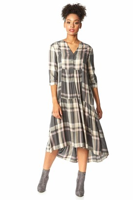Roman Originals Women V-Neck Check Print Tiered Dress - Ladies Casual Day Holiday 3/4 Length Sleeve Fit and Flare Button Detail Lightweight Longline Midi Dresses - Grey - Size 10