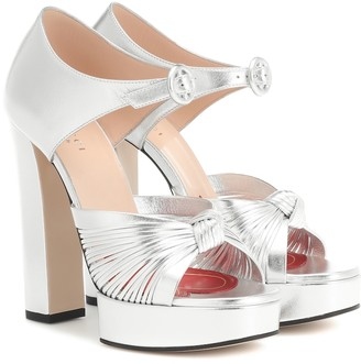 Gucci Metallic leather platform sandals