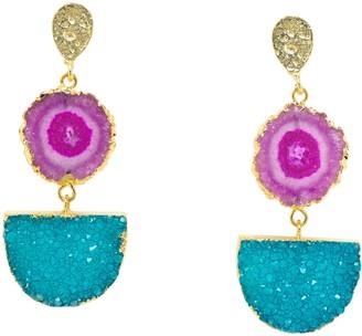 Yaa Yaa London Violet Turquoise Gemstone Gold Statement Earrings