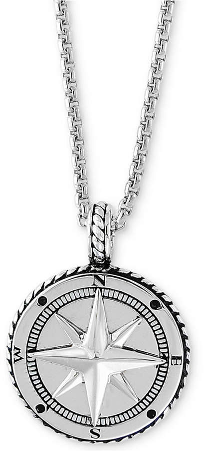 """Effy Men's Compass 22"""" Pendant Necklace in Sterling Silver"""