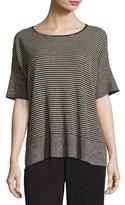 Eileen Fisher Half-Sleeve Linen Knit Striped Top, Natural/Black, Petite