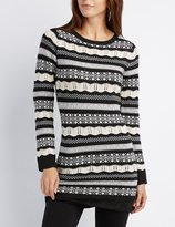 Charlotte Russe Striped Pointelle Tunic Sweater