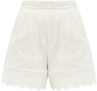 Chloé Scalloped Cotton-jacquard Shorts - White