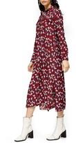 Topshop Floral Print Long Sleeve Midi Shirtdress