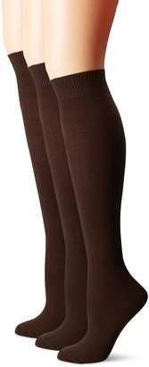 Hue Women's Flat Knit Knee Sock 3 Pack