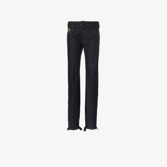 Prada Belted Ruffle Hem Jeans