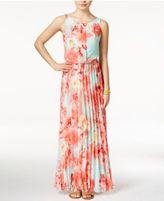 B. Darlin Juniors' Floral-Print Chiffon Pleated Maxi Dress