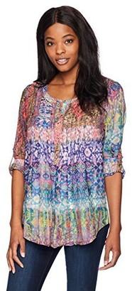 Daniel Rainn Women's 3/4 Roll Tab Sleeve Colorful Artistry Print Tunic Top Blouse