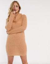 Brave Soul soda cowl neck sweater dress in camel