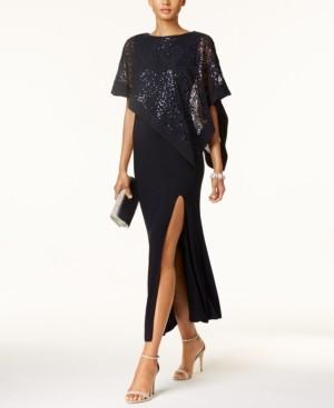 R & M Richards Sequined Lace Cape Gown