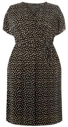 Dorothy Perkins Womens **Dp Curve Black Spot Print Plisse Wrap Dress, Black