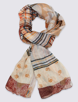 M&S Collection Patchwork Paisley Print Scarf