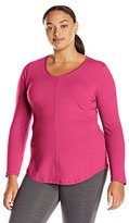 Just My Size Women's Plus Long Sleeve V-Neck Tee