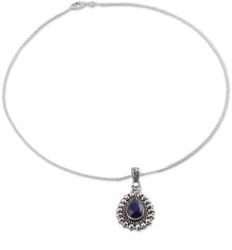 Novica Handmade Lapis Lazuli Pendant Necklace, 'Corona Drop'