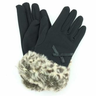 Hawkins Fur Cuffs Ladies Gloves - Leopard