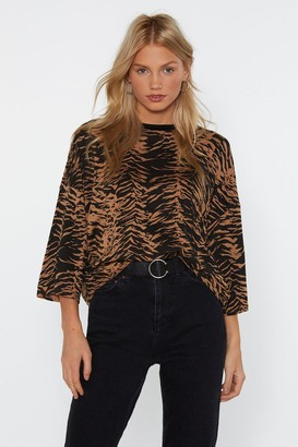 Nasty Gal Womens It Was All a Blurr Animal Oversized Tee - Black