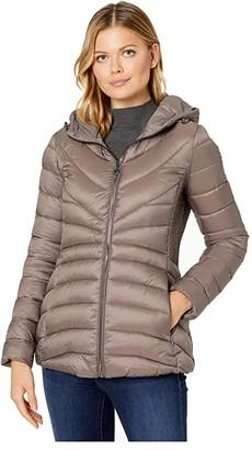 Bernardo Fashions EcoPlume Hooded Packable Puffer Jacket (Antique Silver) Women's Jacket