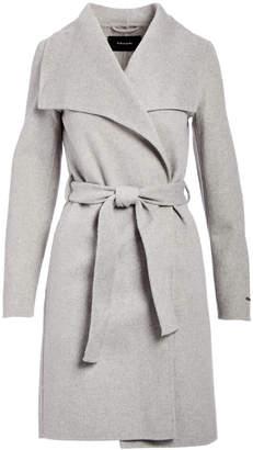 Tahari Women's Car Coats HEATHER - Heather Gray Double Face Wool-Blend Wrap Coat - Women