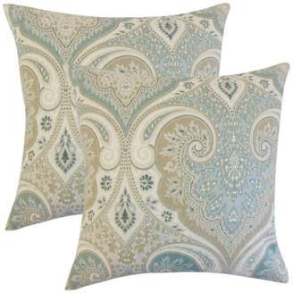The Pillow Collection Kirrily Damask Throw Pillows, Set of 2, Seafoam