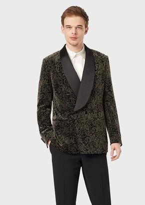 Giorgio Armani Slim-Fit, Half-Canvas Tuxedo Jacket From The Soho Range In Flocked Velvet
