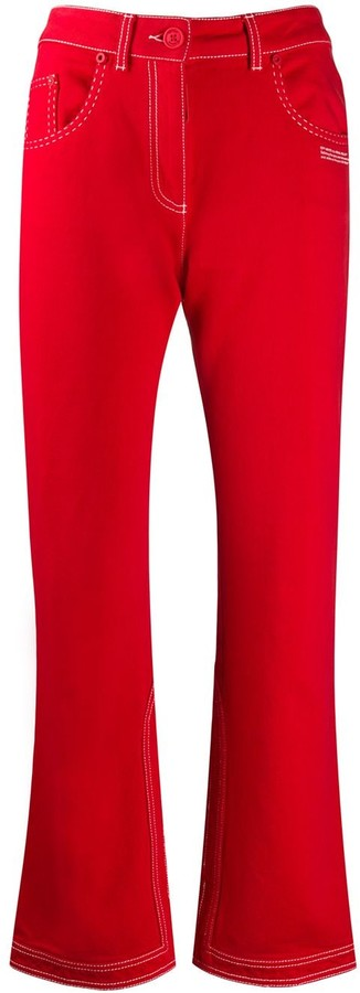 Off-White Contrast-Stitch Kick-Flare Jeans