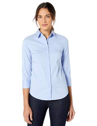 Lark & Ro Stretch Poplin 3/4 Sleeve Shirt Dress