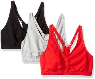 Fruit of the Loom Womens Adjustable Shirred Front Racerback Bra 3-Pack Sports Bra