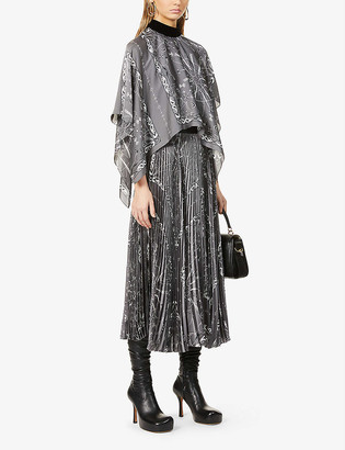 Sacai Graphic-print satin maxi dress