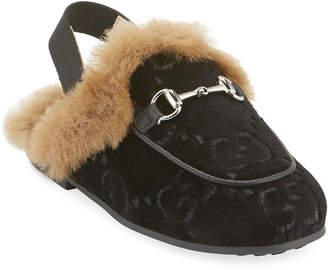 Gucci Velvet GG Mule Slides, Toddler