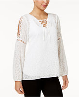 NY Collection Textured Cold-Shoulder Peasant Top