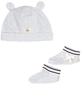 John Lewis Stripe Hat & Bootie Set, Grey