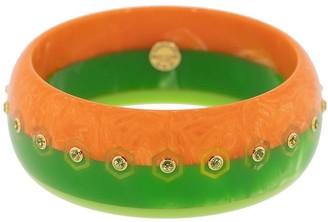Mark Davis Orange And Green Bakelite, 18kt Yellow Gold And Peridot Bangle