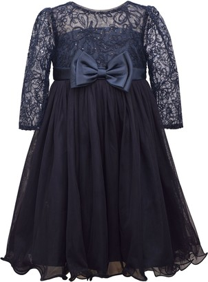 Bonnie Jean Girls 7-16 Sequin Bonaz Dress with Satin Bow & Mesh Skirt