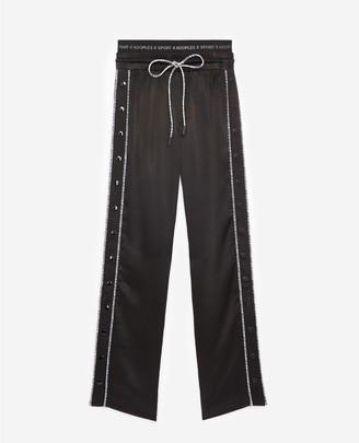 The Kooples Casual black trousers w/logo trim/press studs